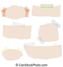 scraps of paper with tape - Collection of brown scraps of...