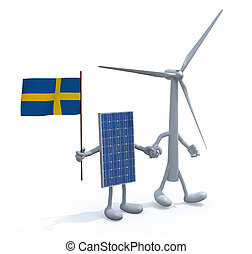 wind turbine and photovoltaic panel with swedish flag hand...