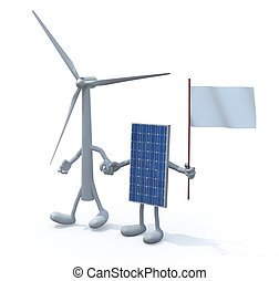 wind turbine and photovoltaic panel hand in hand, 3d...