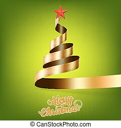 Christmas tree from gold ribbon and star. EPS 10 vector file...