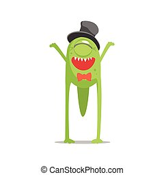 Happy Green One-Eyed Monster In Top Hat And Bow Tie Partying...