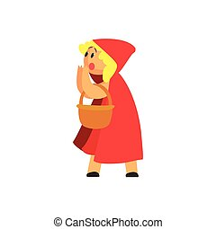Girl In Costume Of The Red Hood Character Performing In Theatrical Show In Fairy-Tale Story
