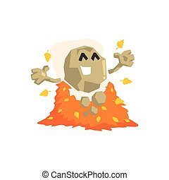 Happy Rock Golem Asteroid Monster Playing With Pile Of Shed...