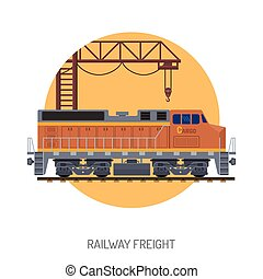 Railway Freight concept - Railway Freight Flat Icons Concept...