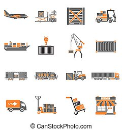 Cargo Transport and Packaging Icon Set - Cargo Transport,...