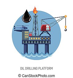 Oil drilling platform concept with Flat Icons extraction and...