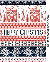 Merry Christmas Scandinavian Textile style, inspired by Norwegian Christmas, festive winter seamless pattern in cross stitch with gingerbread house, Christmas tree, heart, reindeer in blue, red