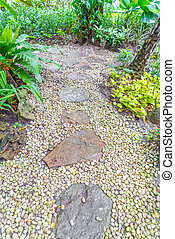 Flagstone walkway in garden . - Flagstone walkway in garden