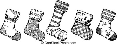 Christmas stockings - Vector illustration of an assortment...