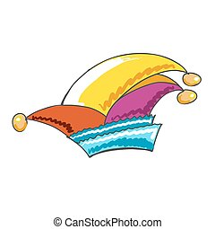Colourful sketched german Carnival Hat, hand-drawn vector...