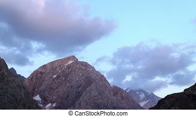 Mountains at sunset. Zoom. TimeLapse. Pamir, Tajikistan
