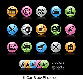 Gas Station Icon set - Gelcolor Series