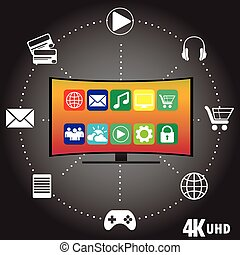 4K TV with icons of different applications, flat vector...