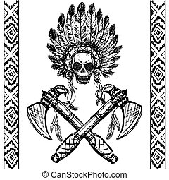 North American Indian chief with tomahawk, hand drawn vector...