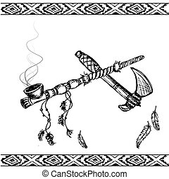 traditional Native American Peace Pipe and tomahawk - Vector...