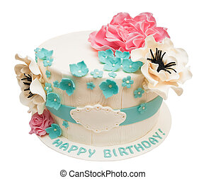 Birthday cake with flowers isolated on white with space for text or name