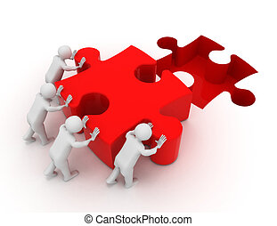 3d men pushing puzzle piece