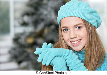 Stylish preteen girl - Portrait of smiling in blue beret,...