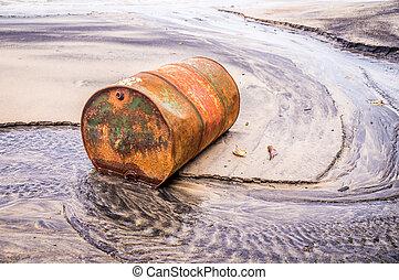 Plaża, zardzewiały, nafta, stary, baryłka