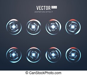 Realistic vector light effect rotating animation set for...