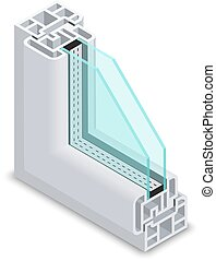 Home clear glass window cross section. Frame structure...