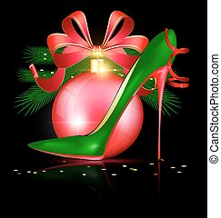 green red shoe and festive ball - black background and the...