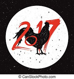 rooster sign and numbers - illustration for chinese calendar...