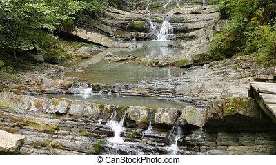 Agura waterfalls. Upper Falls. Sochi, Russia. UltraHD (4K)