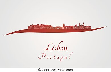 Lisbon V2 skyline in red - Lisbon skyline in red and gray...