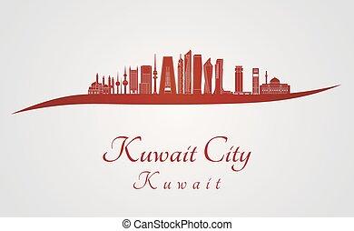 Kuwait City V2 skyline in red