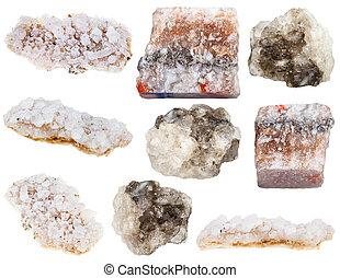 various halite (rock salt) and sea salt minerals isolated on...