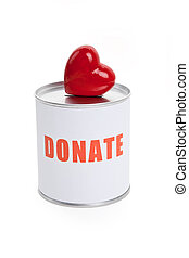 Donation Box and Red Heart, Concept of Care and Love