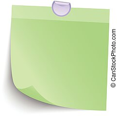 Blank Green Sticky note isolate on gray background, vector...