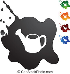 Watering Can - Watering can web button isolated on a...