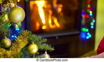 mom and kids watching photo at christmas time - mom with...