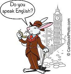 Rabbit in the costume of a gentleman near Big Ben - Kids...
