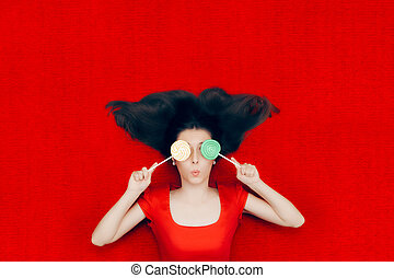 Surprised Christmas Girl Holding Lollipops - Funny Xmas...