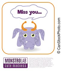 Illustration of a monster saying miss you - Illustration of...
