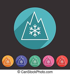 Snow tire Mountain Snowflake Mud symbol icon flat web sign...