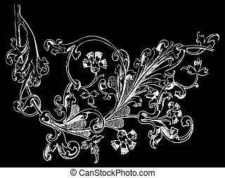Hand drawn illustration of twig with flowers and leaves...