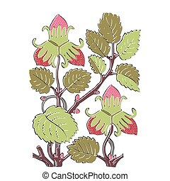 Colorful botanical hand drawn strawberry bush isolated on white