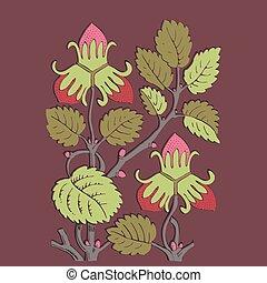 Colorful botanical hand drawn strawberry bush isolated on vinous