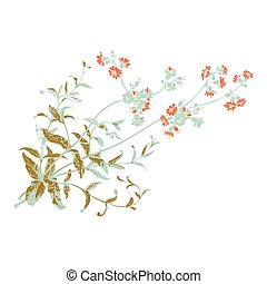 Colorful botanical hand drawn branches with flowers isolated, he