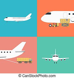Air shipping and logistics icon set - Air shipping and...