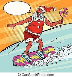 Modern Santa Claus rides on a snowboard