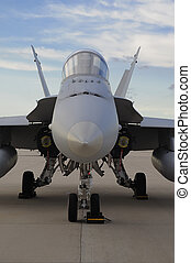 F/A-18 Hornet - Head on view of a Marine F/A-18 Hornet.