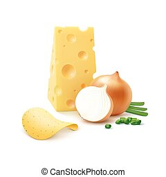 Potato Chips with Cheese and Onion on Background - Vector...