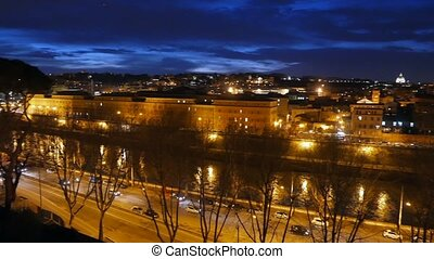 Night Tiber. View from the Orange Garden. Rome, Italy....