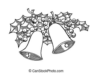 bells with holly leaves - Doodle style holiday bells with...