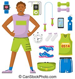 Runner and run equipment set. All for running collection.